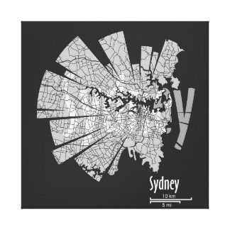 Sydney Map Wrapped Canvas Gallery Wrapped Canvas