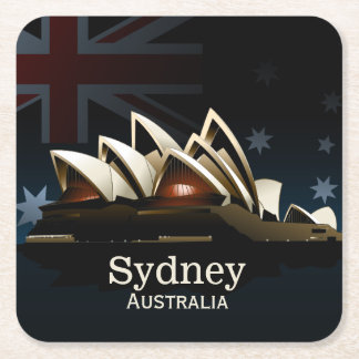Sydney opera house at night square paper coaster