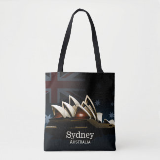 Sydney opera house at night tote bag