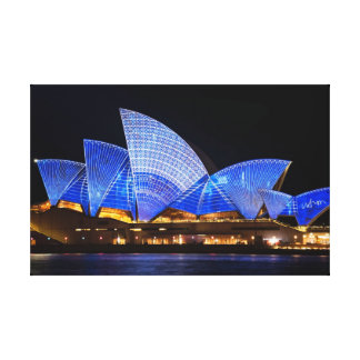 Sydney opera house vivid light show canvas print