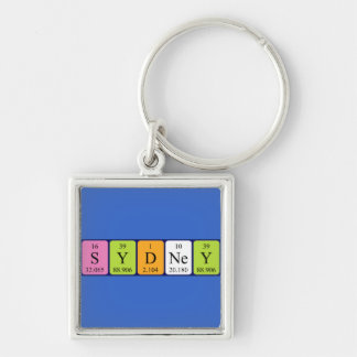 Sydney periodic table name keyring Silver-Colored square key ring