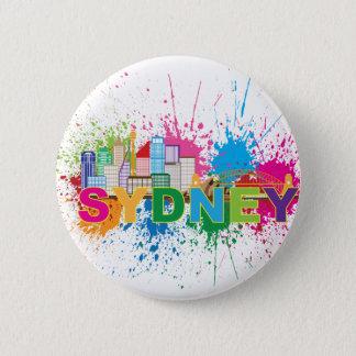 Sydney Skyline Abstract Color Illustration 6 Cm Round Badge