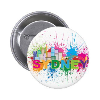 Sydney Skyline Abstract Color Illustration 6 Cm Round Badge