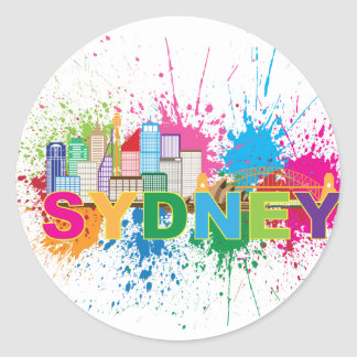Sydney Skyline Abstract Color Illustration Round Sticker
