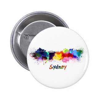 Sydney skyline in watercolor 6 cm round badge