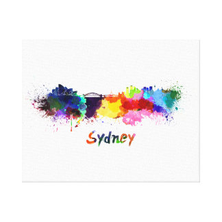 Sydney skyline in watercolor canvas print