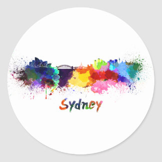 Sydney skyline in watercolor classic round sticker