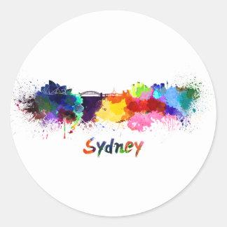 Sydney skyline in watercolor round sticker