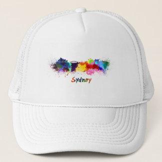 Sydney skyline in watercolor trucker hat