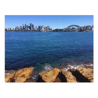 sydney skyline rocks postcard