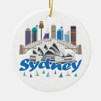 Sydney Skyline Round Ceramic Decoration