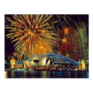Sydney under Fireworks Postcard
