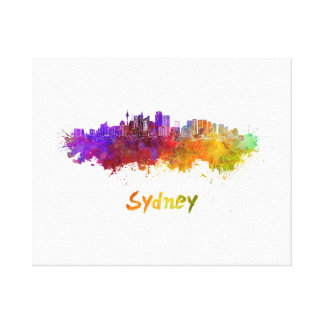 Sydney v2 skyline in watercolor canvas print