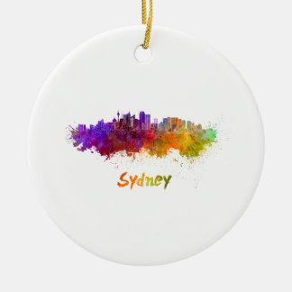 Sydney v2 skyline in watercolor ceramic ornament