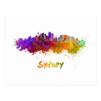 Sydney v2 skyline in watercolor postcard