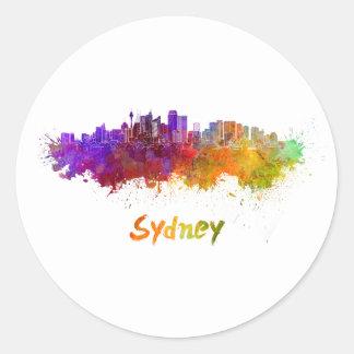 Sydney v2 skyline in watercolor round sticker