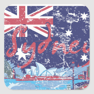 sydney vintage australia square sticker