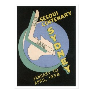 Sydney Vintage Travel Poster, Sesqui Centennial, 1 Postcard