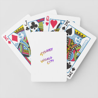 Sydney world city,  colorful text art bicycle playing cards