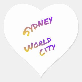 Sydney world city,  colorful text art heart sticker