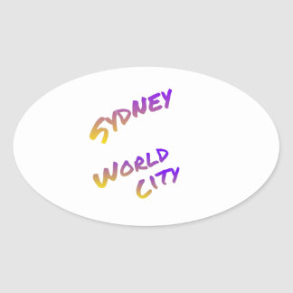 Sydney world city,  colorful text art oval sticker