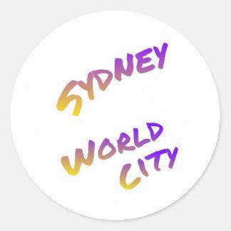 Sydney world city, colorful text art round sticker