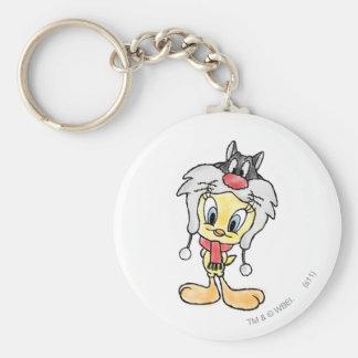 Sylvester Hat Basic Round Button Key Ring