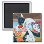 Sylvester Paw Up Square Magnet