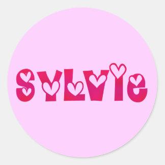 Sylvie in Hearts Classic Round Sticker