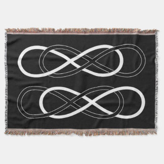 Symbol double Infinity - Black & White Throw Blanket
