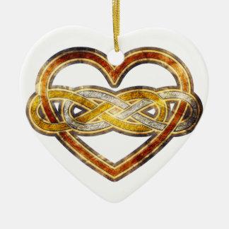 Symbol double Infinity Heart BiColor Ceramic Heart Decoration