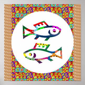 Symbol Fish poisson pêcheurs Aquatic Zoo Aquarium Poster