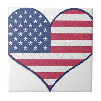 Symbol Heart Love Usa United States Flag Stars Ceramic Tile