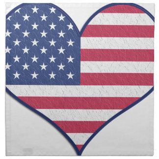 Symbol Heart Love Usa United States Flag Stars Napkin