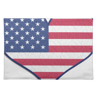 Symbol Heart Love Usa United States Flag Stars Placemat