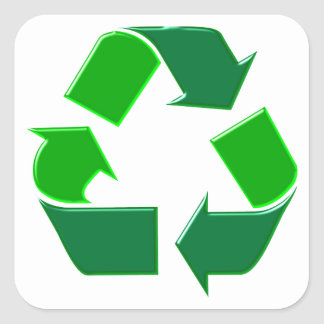 Symbol recycling square sticker