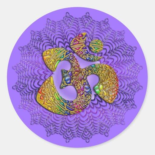 Symbol Universal OM / AUM - Ornament Round Stickers