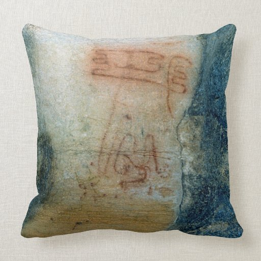 Symbolic figures (cave painting) throw pillow