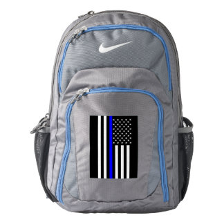 Symbolic Thin Blue Line American Flag graphic on a Backpack