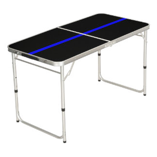 Symbolic Thin Blue Line graphic design on Beer Pong Table