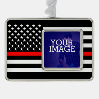 Symbolic Thin Red Line US Flag Your Image on a Silver Plated Framed Ornament