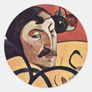 Symbolist Self-Portrait With Halo By Gauguin Paul Round Sticker