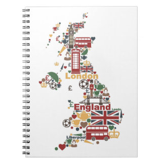 Symbols of England Map Spiral Notebook