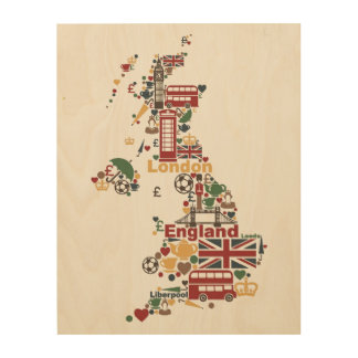 Symbols of England Map Wood Print