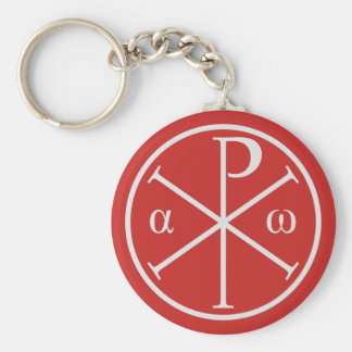 Symbols of Jesus Christ: Chi-Rho, Alpha and Omega Basic Round Button Key Ring