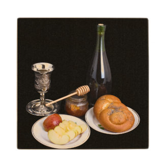 Symbols Of The Jewish New Year Wood Coaster