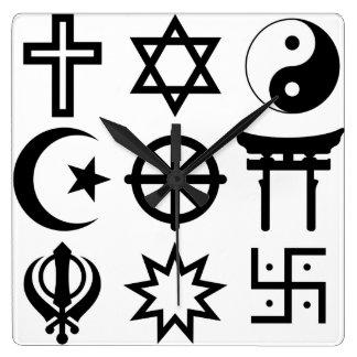 Symetric Religious Symbols Wall Clock