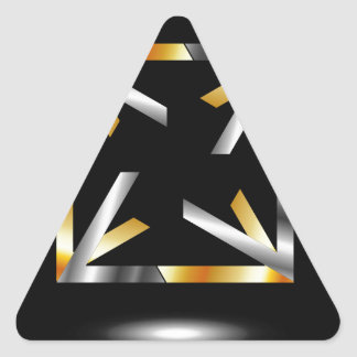 Symmetric square in gold and silver colors triangle sticker