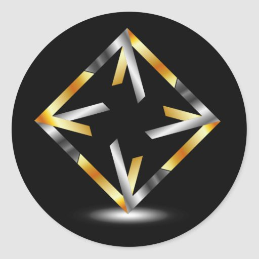 Symmetric square in gold and silver colors round sticker
