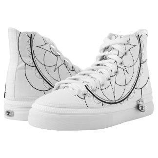 symmetric star high top printed shoes